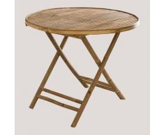 Table pliante ronde en bambou Lipe SKLUM Bambou Bambou - Bambou Bambou