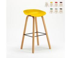 Superstool - Tabouret chaise haut pour café et cuisine effet bois Towerwood | Jaune