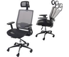 Chaise de bureau 795 chaise pivotante, ergonomique, appui-tête, tissu ~ noir/gris - HHG