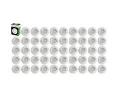 Lot de 50 Spot Led Encastrable Complete Blanc Orientable lumière Blanc Chaud eq. 50W ref.193