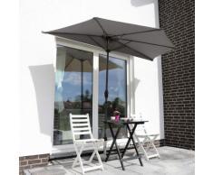 Sekey Outdoor 2.7m Demi Parasol en Acier Parasol avec verrière 100% Polyester (Gris), UV 50+