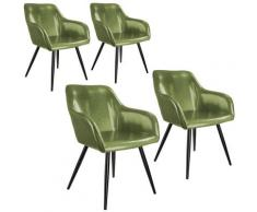 Tectake - Lot de 4 chaises cuir synthétique MARILYN - Chaise, chaise de salle à manger, chaise de