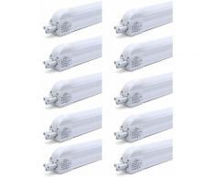 10×Anten T5 Tube LED 90CM Tube de Lumière Fluorescente 12W avec Réglette Complète Blanc Froid 6000K