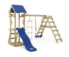 Aire de jeux Portique bois TinyLoft avec balançoire et toboggan bleu Maison enfant exterieur avec