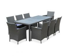 Salon de jardin Tavola 8 en résine tressée. table d'extérieur 195cm avec 8 fauteuils Gris / Gris
