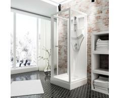 Cabine de douche intégrale, verre de sécurité 5 mm, cabine de douche complète, blanc alpin, Juist,