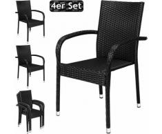 4x Chaises de jardin polyrotin confortable empilable accoudoirs robuste noir