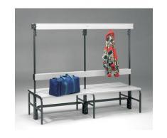 Banc pour vestiaire en acier, pour environnements humides - h x p 1600 x 695 mm - L 1500 mm, sans