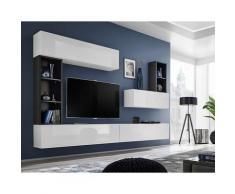 Paris Prix - Meuble Tv Mural Design blox I 280cm Blanc & Noir