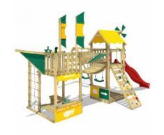 WICKEY Aire de jeux Portique bois Smart Wing avec balançoire et toboggan rouge Cabane enfant