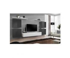 Ensemble meuble salon SWITCH IV design, coloris blanc et gris brillant. - Blanc
