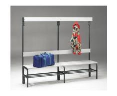 Banc pour vestiaire en acier, pour environnements humides - h x p 1600 x 335 mm - L 1500 mm, avec
