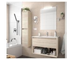 Meuble de salle de bain suspendu 100 cm marron Caledonia avec un tiroir et un espace | Avec miroir