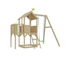Cabane enfant sur pilotis bac à sable et portique intégré avec cloisons décor lune Tower Avec