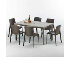 Table rectangulaire et 6 chaises Poly rotin resine ensemble bar cafè exterieur 150x90 Beige Marion