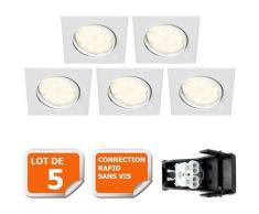 Lot De 5 Spot Encastrable Orientable Carre Led Smd Gu10 230V Blanc Rendu Environ 50W Halogene