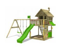 FATMOOSE Aire de jeux Portique bois GroovyGarden avec balançoire et toboggan vert pomme Maison