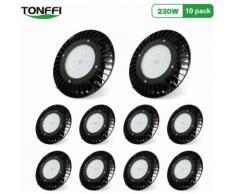 10×Tonffi UFO LED 230W Thare de Travail LED Suspension IP65 Étanche Projecteur Industriel Rond