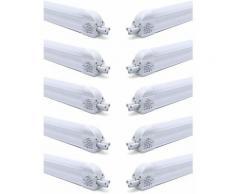 10×Anten T5 90CM Tube LED 12W Tube de Lumière Fluorescente IP20 avec Réglette Complète Blanc Neutre