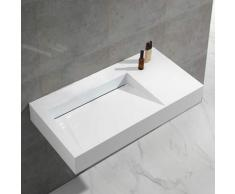Lavabo Suspendu Rectangulaire - Solid surface Blanc Mat - 100x50 cm - Lodge