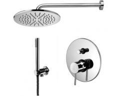 Solution de douche complète avec: pommeau de douche ronde, mitigeur de douche encastrable avec
