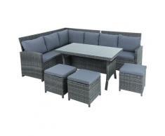 Rotin meubles de salon lot de table Sofa ensemble jardin Lounge set de 7 pièces gris