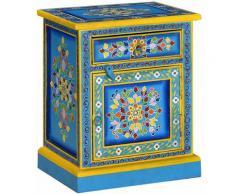 Helloshop26 - Table de nuit chevet commode armoire meuble chambre bois de manguier turquoise