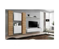 Paris Prix - Meuble Tv Mural Design switch Vi 330cm Naturel & Blanc