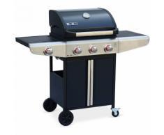 Barbecue au gaz Bazin 3 Anthracite Cuisine extérieure 3 brûleurs + 1 feu latéral avec tablettes