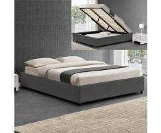 Sommier Coffre De Rangement Room - Gris - 160x200, Polyuréthane, Style Contemporain, 213 x 175 x