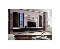 Price Factory - Meuble TV FLY E4 design, coloris blanc et noir brillant. Meuble suspendu moderne et