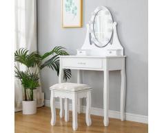 Coiffeuse avec Tabouret et Miroir Lampe à LED Table de Maquillage pour Chambre ou Dressing