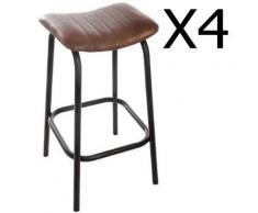Pegane - Lot de 4 tabourets de bar en cuir coloris marron - Dim : L.42 x l.40 x H.75 cm