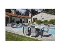 Homemaison - Ensemble de jardin en résine tressée gris cendré Gris 220 x 100 x h 74 cm - Gris
