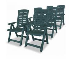 Zqyrlar - Chaises inclinables de jardin 6 pcs Plastique Vert