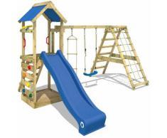Aire de jeux Portique bois StarFlyer avec balançoire et toboggan bleu Maison enfant exterieur avec