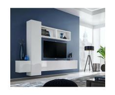 Price Factory - Ensemble meuble TV mural CUBE 13 design coloris blanc et blanc brillant. Meuble de