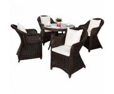 Salon de jardin ZURICH 4 Personnes 4 Fauteuils 1 Table Ronde en Résine Tressée structure Aluminium