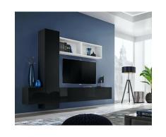 Price Factory - Ensemble meuble TV mural CUBE 13 design coloris noir et blanc. Meuble de salon