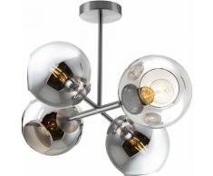 Etc-shop - Plafonnier boule verre lampe de salon LED plafonnier design verre 4 flammes, métal