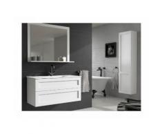 Batinea - Meuble de salle de bain Mila, Denver, 120, avec meuble miroir, avec colonne