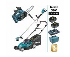 Pack 36V: tondeuse 43cm + débroussailleuse + tronçonneuse d'élagage 30cm + 2 batt 5Ah MAKITA DLM431