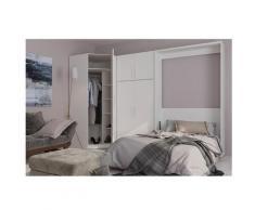 Composition armoire lit escamotable SMART-V2 blanc mat Couchage 160 x 200 cm armoire 2 portes +