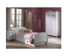 Chambre enfant 4 pièces lit gigogne chevet et armoire 2 portes bois laqué blanc Cœur 90x200 cm