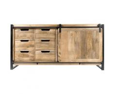 Made In Meubles - Buffet industriel porte coulissante manguier, 6 tiroirs bois - Bois