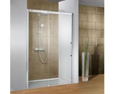 Porte de douche coulissante, verre 8 mm anticalcaire, profilé aspect chromé, Manhattan, Schulte,