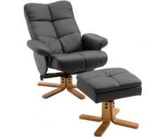 Homcom - Fauteuil relax inclinable style contemporain repose-pieds coffre rangement revêtement