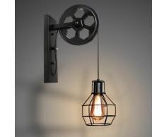 Lot de 2 Lampe Murale Int?rieur - Fer Poulie - R?tro Applique Murale Industrielle - E27 40W