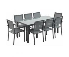 Salon de jardin aluminium Capua table 180cm, 8 fauteuils en textilène gris et alu anthracite