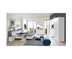 Chambre adulte complète, coloris blanc, rechampis verre blanc + chrome - Dim : 140 x 200 cm